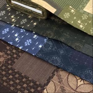 和柄 生地 夢創布 大島風 染絣 日本製 布地 布 手芸 和調 茶色 黒 紺 緑 系|cottonhouse-cecile