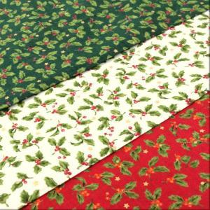生地 クリスマス 柄 布 柊(ひいらぎ)のプリントとラメのドットと星スケアープリント/白 赤 緑/テーブルクロス cottonhouse-cecile