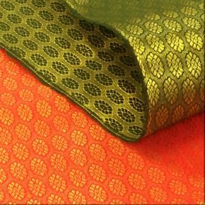 ジャガード 生地(赤 グリーン)ポリエステル インド産 布 布地 衣装 赤 緑 コスプレ 仮装 手作り よさこい