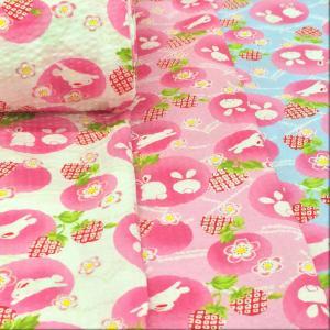 リップル 生地 浴衣 うさぎと桜 ゆかた 布 花柄 和柄 甚平 布地 手芸 子供 おしゃれ かわいい