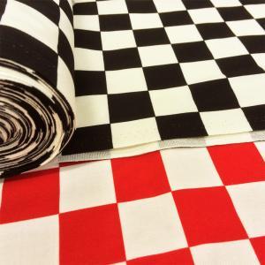生地 市松模様 布 和柄 綿 チェック柄 市松格子 3.5cm角 ツイル 黒 赤 綿 布地/手芸 伝統柄|cottonhouse-cecile