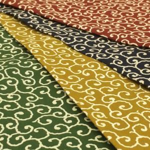生地 和柄 唐草模様 からくさ 布 紺 赤 緑 黄色 系 和風 和調 綿100% 布地 手芸 Gポプ 風呂敷|cottonhouse-cecile
