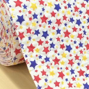 カラフル!おしゃれな星柄のキルト布。 星のサイズは、約(大)2cm (中)1.5cm (小)1cm ...