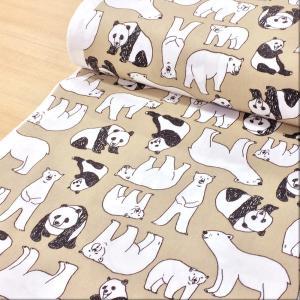 パンダと白くまのプリントのブロード生地。 バッグや小物、雑貨作りにオススメです。  ◎50cm【数量...