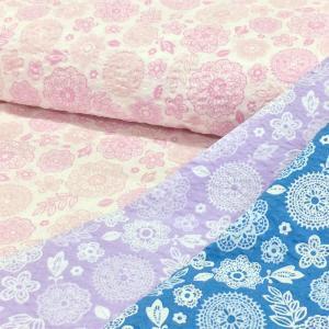 リップル 生地 レースモチーフ 花柄 甚平 ゆかた 布 和柄 浴衣 布地 手芸 子供 キッズ 北欧風