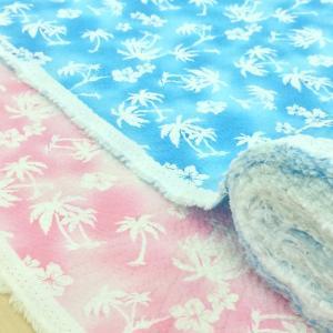 ハワイアン柄 リップル 生地 ハイビスカスとヤシの木 甚平 ゆかた 布 浴衣 布地 手芸 子供 女の子 男の子