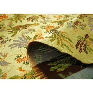 金襴 生地 金襴の布 洛レイ 鳳凰と菊(うす緑)和柄/手芸 金らん cottonhouse-cecile