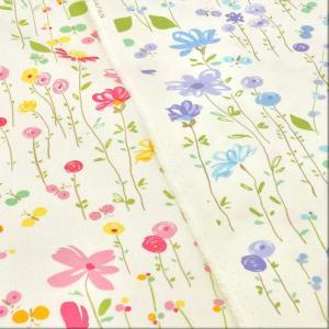 花柄 生地 布 綿 おしゃれ ちょうちょのお庭 ツイル 布地 ピンク ブルー コットンこばやし ボタニカル 植物 手芸|cottonhouse-cecile