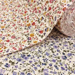 小花柄のキルト生地。 表がツイル(綾織り)なので、しっかりしています。 バッグなど袋物、各種カバーに...