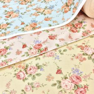 生地 花柄 布 綿 バラ コットンこばやし ベージュ ピンク 水色 布地 手芸 メール便可