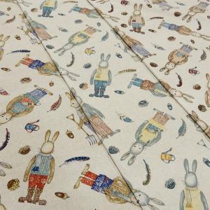 うさぎ 生地 綿麻 キャンバス 布 布地 手芸 コットンリネン ファブリック|cottonhouse-cecile