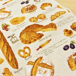 生地 布 パン柄 綿麻 キャンバス 布(生成り)食べ物 スウィーツ ベーカリー コットン リネン コットンこばやし 手芸|cottonhouse-cecile