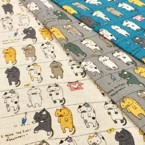 猫柄 生地 布 猫 洗濯にゃんこ ねこ 綿麻キャンバス 布地 手芸 コットンリネン コットンこばやし メール便可|cottonhouse-cecile