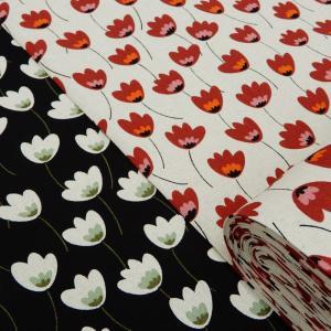 北欧風 花柄 生地 チューリップ 綿麻 キャンバス 布 布地 手芸 コットンリネン ファブリック|cottonhouse-cecile