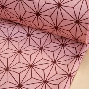鬼滅の刃風 きめつ 生地 麻の葉模様  ピンク 和柄 布 CBプリント 伝統柄 和調 綿100% 布...
