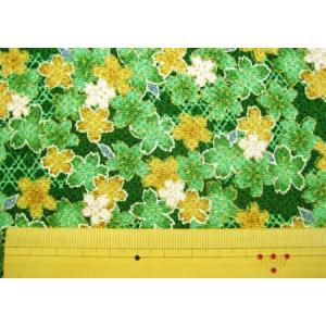 ちりめん生地 布 金彩 和柄 桜と籠目(緑)レーヨン/手芸 cottonhouse-cecile
