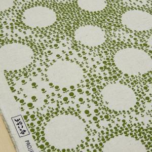 北欧風 生地 綿麻 キャンバス 花柄の大きな水玉 布 布地 手芸 コットンリネン ファブリック 緑 系 おしゃれ 北欧柄