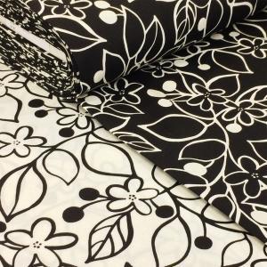 生地 北欧風 花柄 布 綿 おしゃれ グローブ 布地 オックス/白 黒 モノトーン W巾 広巾(150cm幅)大柄 SEVEN BERRY ファブリック/手芸|cottonhouse-cecile