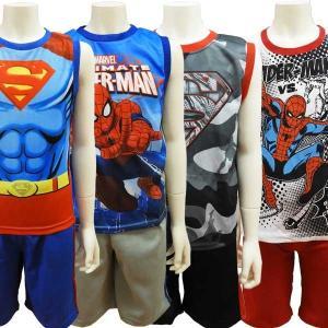 アメコミ マーベル スパイダーマン スーパーマン 子供服 キッズ タンクトップ ノースリーブ セット...