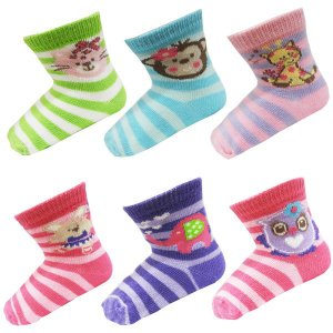 ソックス ブーティ 女の子 アニマル 動物 Vitamins ビタミンズ 靴下 6足セット 0/6ヶ月 約8cm 9cm 10cm|couchetot-for-child