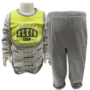 Calvin Klein カルバンクライン ベビー服 長袖 ロンパース スウエットパンツ BIB 3点セット セットアップ 6/9M 70cm 75cm|couchetot-for-child