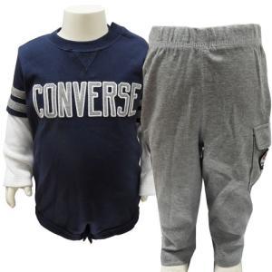 CONVERSE コンバース ベビー服 長袖 ロンパース スウエットパンツ 上下セット 2ピースセット 12ヶ月 1歳 80cm|couchetot-for-child