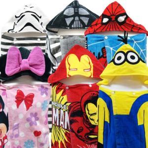 Disney ディズニー ミニーマウス スパイダーマン スター・ウォーズ 子供用タオル フード付き コンパクト バスタオル プールタオル|couchetot-for-child
