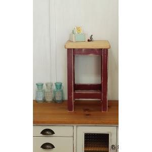 ハンドメイド スクエアスツール 木製角椅子 ツートンカラー ボルドーXアンティークパイン 高さ43cm|country-kinoka