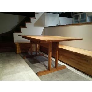 オークのシンプル ダイニングテーブル|country-kinoka