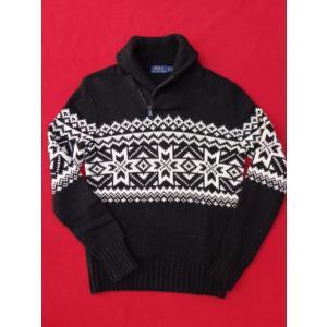 ポロ ラルフローレン Polo Ralph Lauren ショールカラー 雪柄 ニット セーター ブラック|countrypie