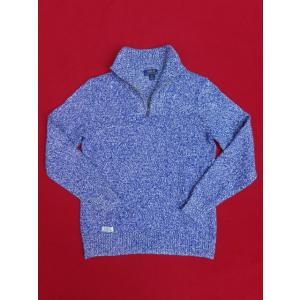 ポロ ラルフローレン Polo Ralph Lauren ハーフジップ ニット コットン セーター ブルー×ホワイト|countrypie