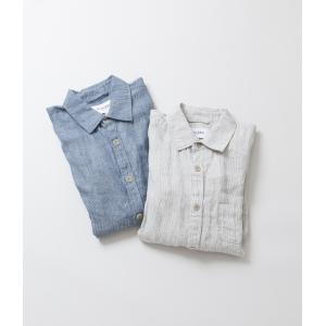 50%OFF (クーポン使用でさらに10%OFF)-FINAL SALE- Corridor コリドー Ticking Stripe Linen Overshirt ストライプ リネン オーバーシャツ|coupy2