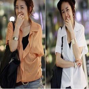 ファッション人気ブラウス●ホワイト/オレンジ●sz1-at107-61 courage