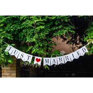 結婚式 記念写真 ウェディングガーランド JUST MARRIED ウェディングフォト ガーランド デコレーション ウェディングフォト 雑貨|courageshop