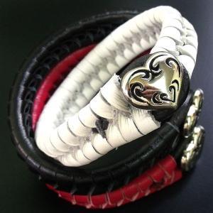 ブレスレット メンズ 本革 レザーブレスレット ハートブラスシルバートップ プレゼント ギフト|cowbell