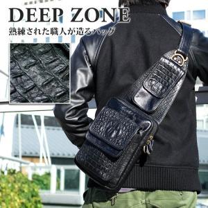 ボディバッグ メンズ 本革 レザー クロコダイル型押し Deep Zone スマホポケット付き プレゼント ギフト|cowbell
