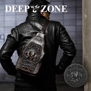 ボディバッグ メンズ 本革 レザー  牛革 ワニ革 カウレザー クロコダイル 肩掛け Deepzone プレゼント ギフト|cowbell