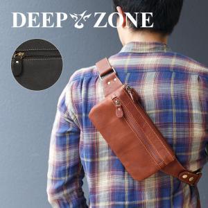 ボディバッグ メンズ 本革 レザー  牛革 3層 薄マチ カウレザー 肩掛け Deepzone プレゼント ギフト cowbell