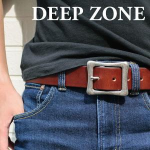 ベルト メンズ 本革 カジュアル オイルレザー スクエアバックル 欧州原皮 タンニン鞣し 牛革 Deep Zone プレゼント ギフト|cowbell