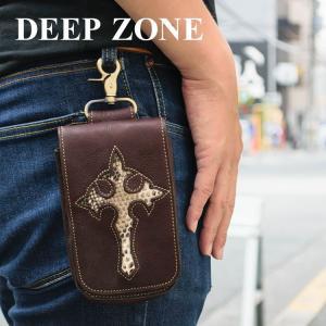 スマホケース ベルトポーチ メンズ 本革 レザー パイソン スネーク クロス Deep Zone プレゼント ギフト cowbell