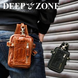 ヒップバッグ ウエストバッグ メンズ 本革 ベルトポーチ ワニ型押し Deep Zone プレゼント ギフト|cowbell