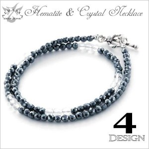 ネックレス メンズ ヘマタイト&水晶ネックレス Silver925留め具 プレゼント ギフト|cowbell