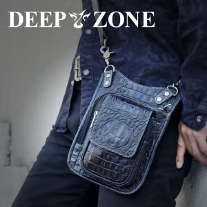 ヒップバッグ ショルダーバッグ メンズ 本革 レザー 2WAY レザー クロコ型押し Deep Zone プレゼント ギフト|cowbell