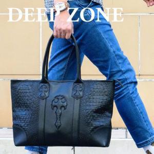 トートバッグ メンズ カジュアル ビジネス 本革 レザー イタリアンレザー クロコダイル型押し Deep Zone プレゼント ギフト|cowbell