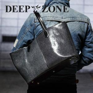 トートバッグ メンズ カジュアル ビジネス 本革 レザー エイ スティングレイ 革 Deep Zone プレゼント ギフト|cowbell