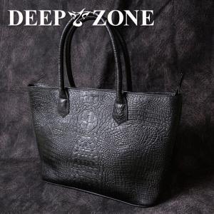 トートバッグ メンズ 本革 牛革 クロコダイル 型押し  Deep Zone プレゼント ギフト 人気|cowbell
