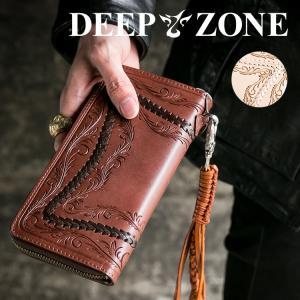 長財布 ロングウォレット メンズ カービング カジュアル ビジネス 牛 本革 Deep Zone プレゼント ギフト|cowbell