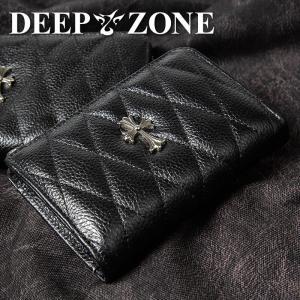 折り財布 本革 キルティングレザー クロスモチーフ DEEP ZONE|cowbell