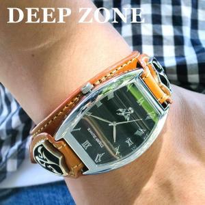腕時計 ブレスウォッチ イタリアン レザーベルト Deep Zone トノーフェイス ブラックフェイス ブラウンベルト 専用ケース付属 プレゼント ギフト|cowbell