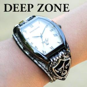 腕時計 ブレスウォッチ パイソンレザーベルト Deep Zone トノーフェイス ホワイトフェイス スネークレザーベルト 専用ケース付属 プレゼント ギフト|cowbell